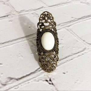 Jewelry - Antique Bronze Long Ring with White Stone